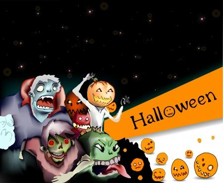 opened mouth: Ilustraci�n de monstruos terribles en la noche de Halloween