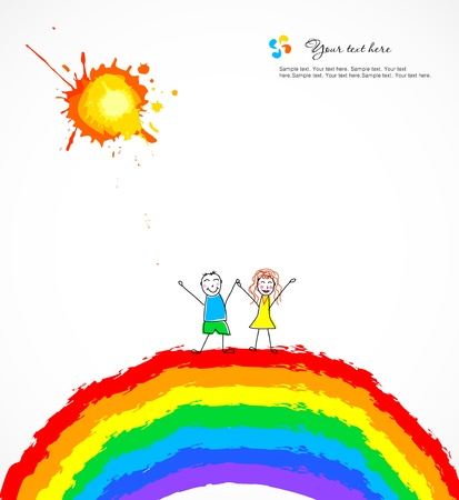 Bright background with happy children on rainbow Vector