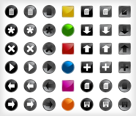 Set web buttons with icons  Vector Vector
