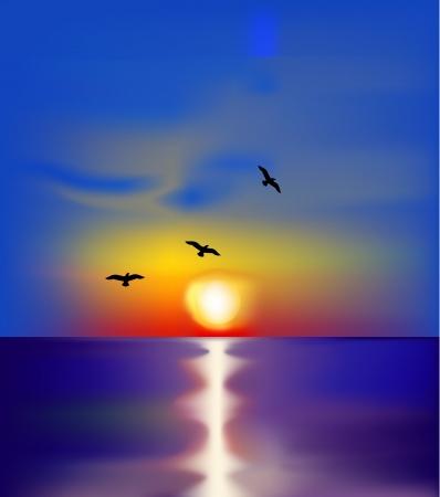 Puesta de sol en el mar con las aves Vector Ilustración de vector