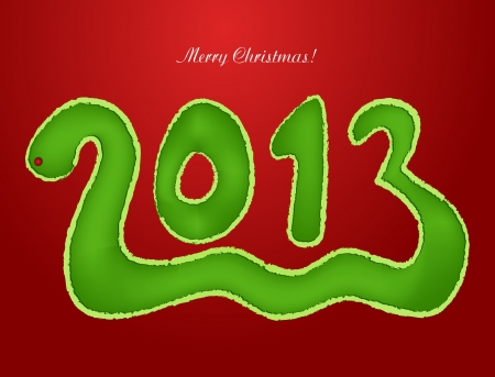 Snake in the form of a Christmas 2013  Vector Stock Vector - 15252049