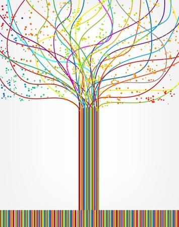 conexiones: �rbol colorido abstracto de Vector l�neas
