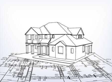 House technical draw  イラスト・ベクター素材