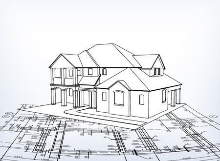 dream house: House technical draw Illustration