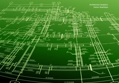 Architecture house plan green background Vector