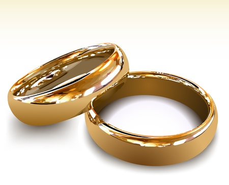 vow: Gold wedding rings illustration