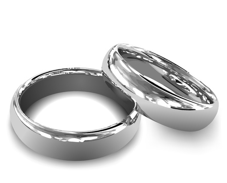 silver anniversary: Platinum wedding rings illustration