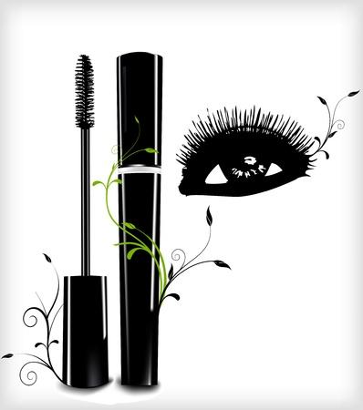 productos de belleza: Tinta para las pestañas con el ornamento y Vector ojo Vectores