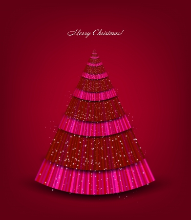 Christmas red background with tree  Vector Stock Vector - 15389555