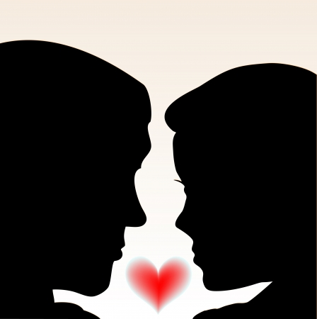 Couple Love People with heart   Vector