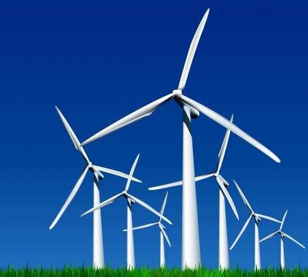 windmolen: Wind Generatoren Vector illustratie Stock Illustratie