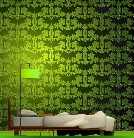 headboard: Interior of a room in green style  Vector Illustration