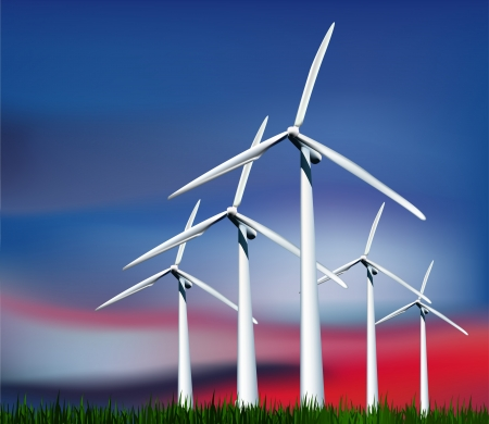 windpower: Wind Generators in the sky with grass  Vector