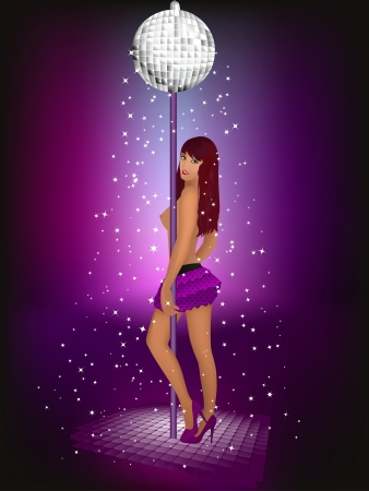 strip dance: Woman stripping, disco-ball