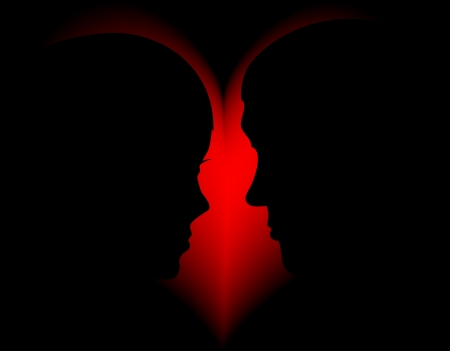 Silhouette of the man and woman against red heart