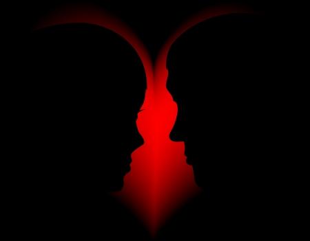 dessin coeur: Silhouette de l'homme et de la femme contre coeur rouge Illustration