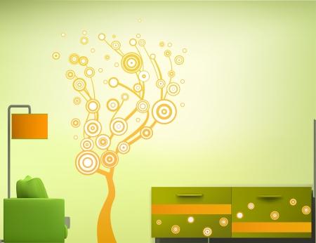 Intérieur de la chambre dans le style vert-orange