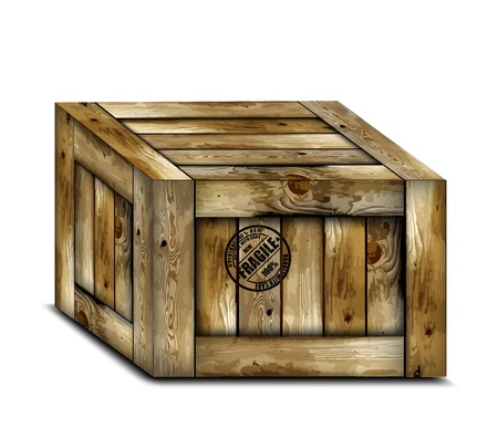 chest wall: Fragile wooden box with stamp  Illustration