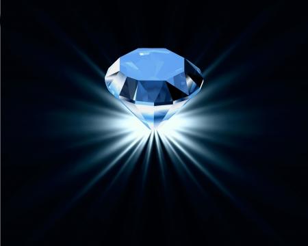 Bright blue diamond   イラスト・ベクター素材