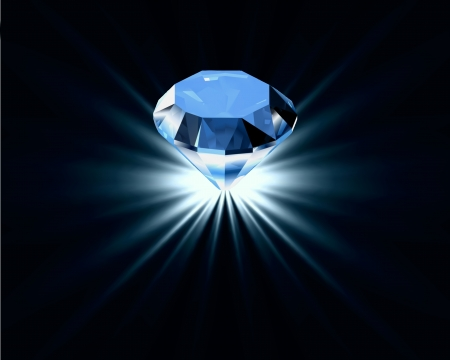 diamante: Luminoso diamante blu Vettoriali