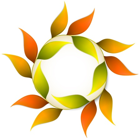 Round autumn banner with orange leafs   Stock Vector - 15650825