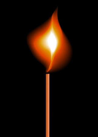 Burning flame on a matchstick  Vector Illustration