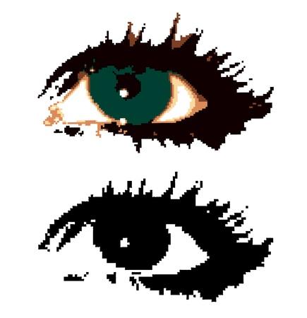Woman pixelated eyes  Vector Stock Vector - 15890623