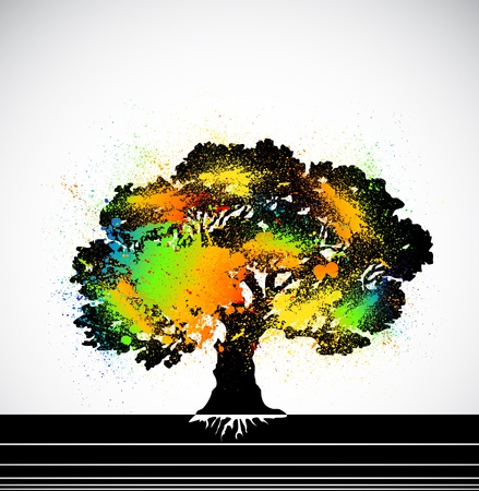 Ink colorful tree  Vector Stock Vector - 15890540