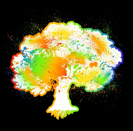 Ink colorful tree on black over  Vector Stock Vector - 15890543