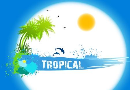 blue bird: Tropical abstract background  Vector