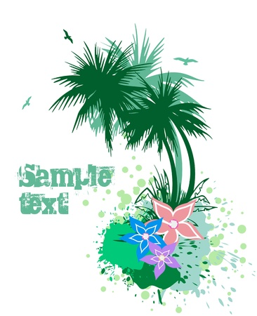 Palms with flowers  Vector Stock Vector - 15890632