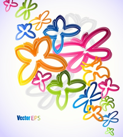 Illustration with colorful butterflies Vector