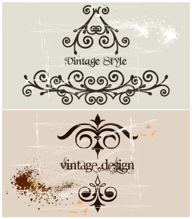 free border: Two Vintage grunge template frame  Vector