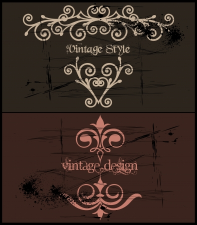 Two Vintage grunge template frame  Vector Stock Vector - 15890565