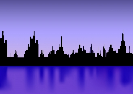 City with reflection silhouette  Vector Stock Vector - 15890626