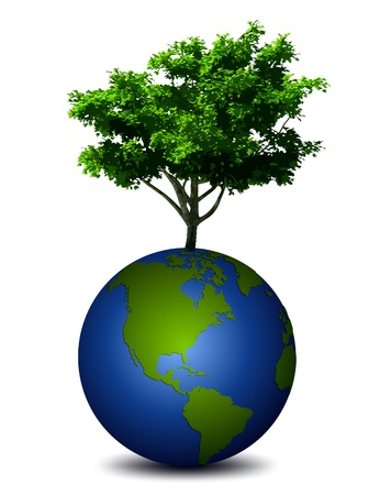 environment geography: Earth planet with a tree  Vector