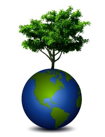erde h�nde: Planet Erde mit einem Baum Vektor Illustration