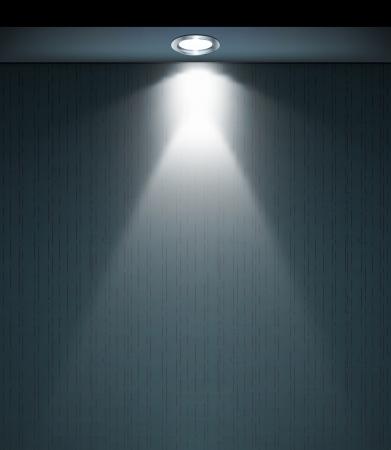осветительное оборудование: Освещенная стена с лампой Иллюстрация