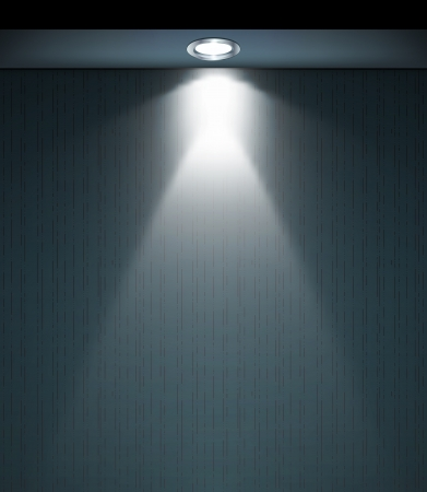 Lighted wall with lamp