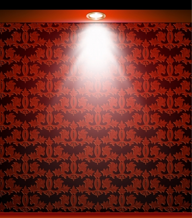 Lighted red seamless wall with lamp   Vector