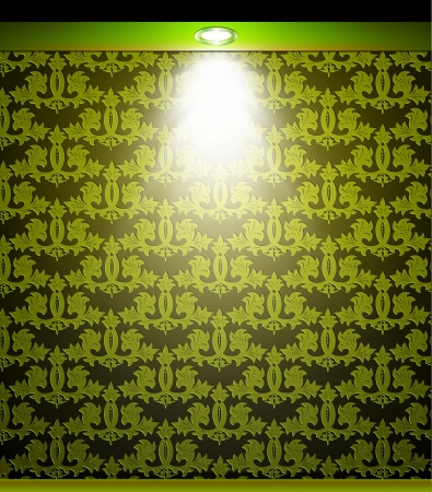 sconce: Lighted green seamless wall with lamp