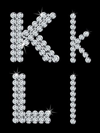 Set of diamond alphabetic letters    Illustration