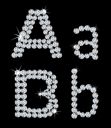 Set of diamond alphabetic letters