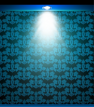 Lighted blue seamless wall with lamp   Vector