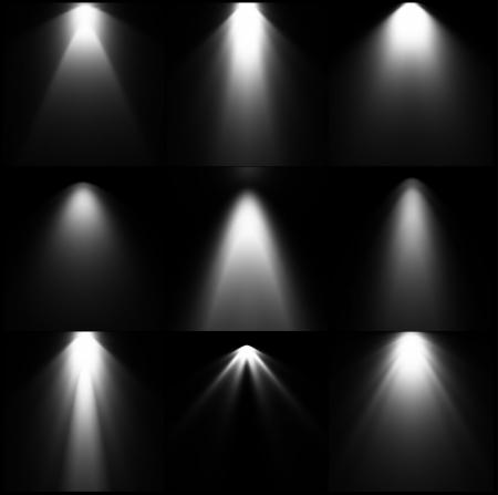 Zestaw czarno-białe źródła światła Ilustracje wektorowe
