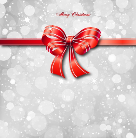 Red bow on a magical Christmas card    Vector