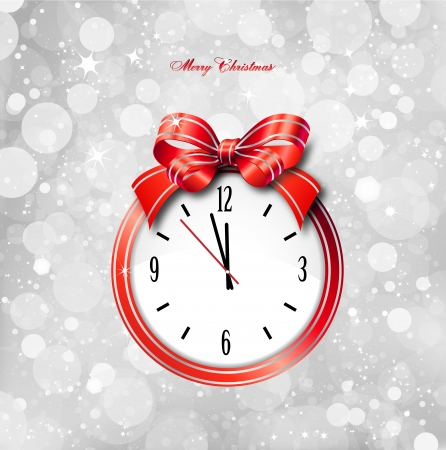 winter time: Red bow on clock as christmas card