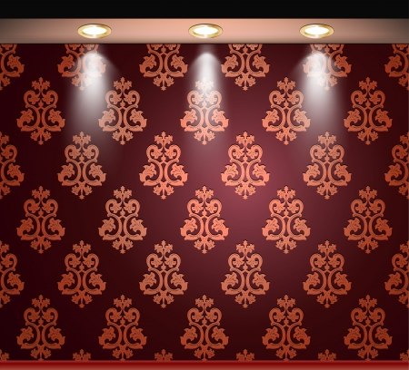 sconce: Lighted red seamless wall with lamp  Vector Illustration