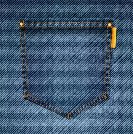 Pocket of blue jeans  Vector Illustration