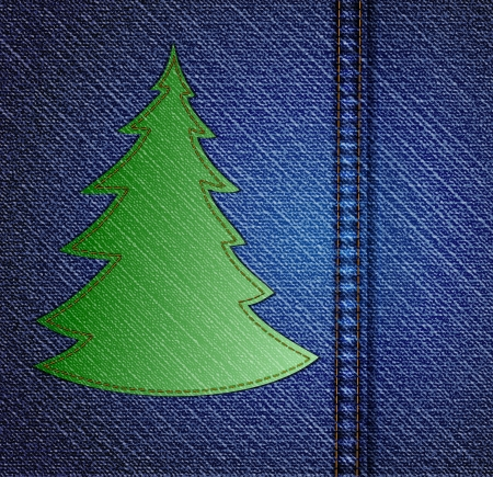 Background - a material of jeans with christmas tree  Vector Vector
